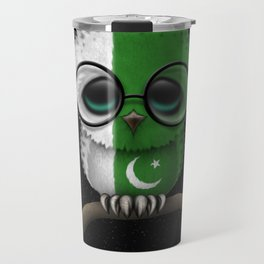 Baby Owl with Glasses and Pakistani Flag Travel Mug
