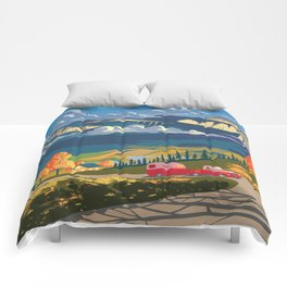 Retro Travel Autumn Landscape Illustration Comforters