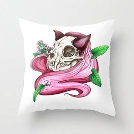 Neko skull girl: Catnip Throw Pillow