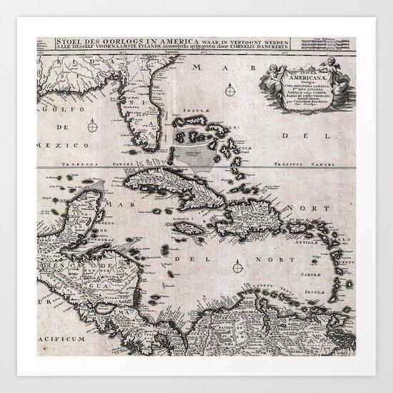 Vintage Americas Map Art Print