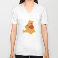 winnie the pooh V-neck T-shirts featuring Winnie The Pooh by DanielBergerDesign
