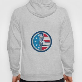 Plumber Hand Holding Pipe Wrench Flag Circle Banner Retro Hoody