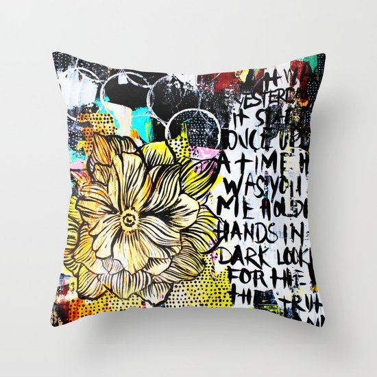 Big Yellow Throw Pillows : big messy yellow flower Throw Pillow by Alisa Burke Society6
