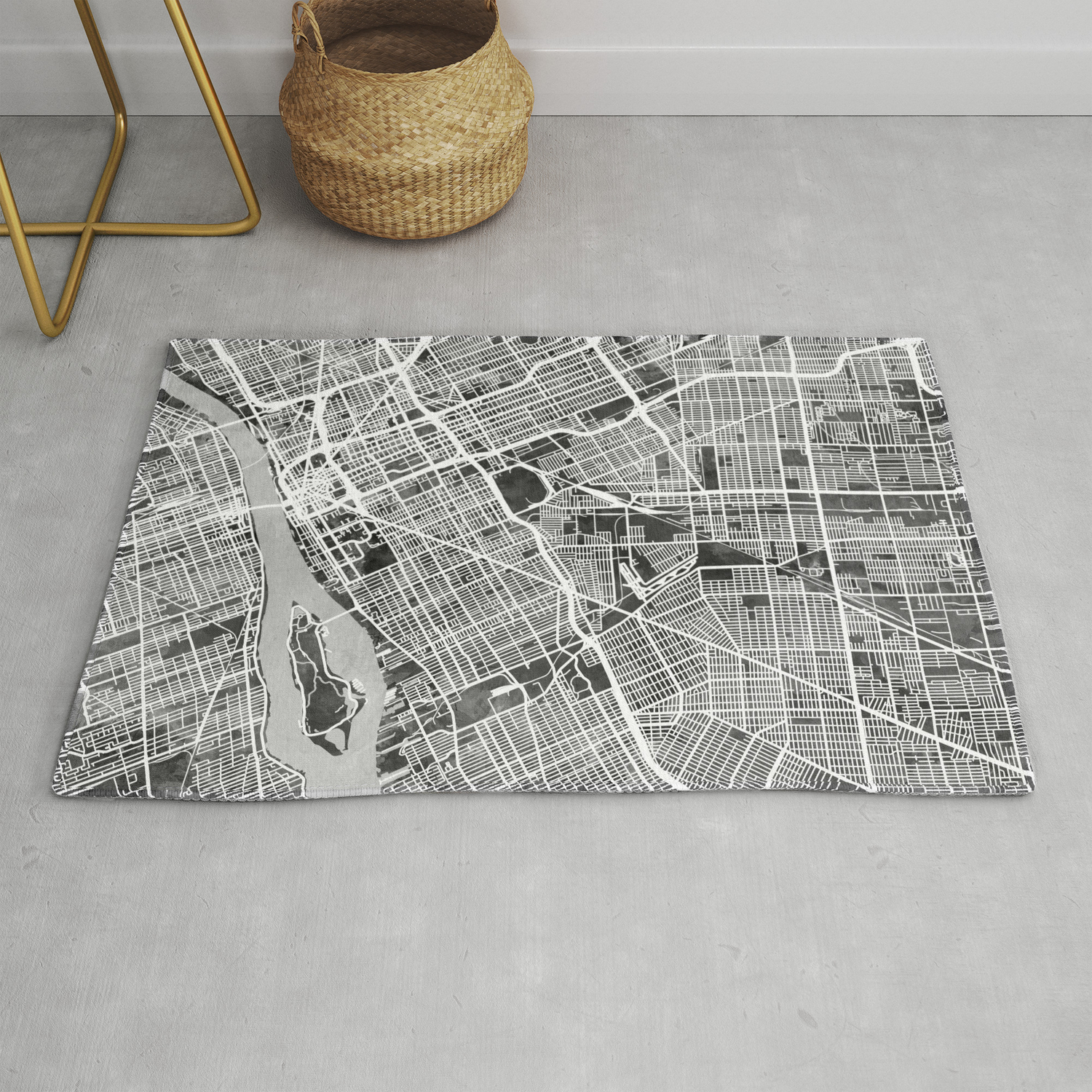 Detroit Michigan City Map Rug By Artpause Society6