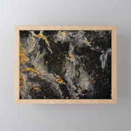 Galaxy (black gold) Framed Mini Art Print