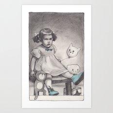Her blue shoes Art Print