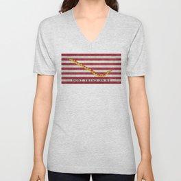 First Navy Jack flag of the USA, vintage Unisex V-Neck