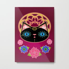 Serene Black Cat Metal Print