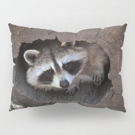 Hiding baby raccoon Pillow Sham