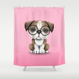 Cute English Bulldog Puppy Wearing Glasses on Pink Shower Curtain