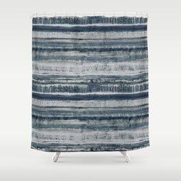 Expressive Indigo Watercolor Stripe Shower Curtain