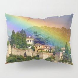 Rainbow over Dar alHorra Palace at Granada. Spain Pillow Sham