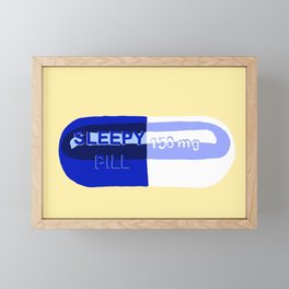 Sleepy Pill Yellow Framed Mini Art Print