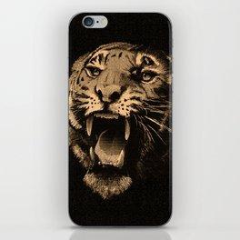 Vintage Tiger in black iPhone Skin