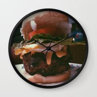 burger Wall Clocks featuring Burger  by Sam Chapman