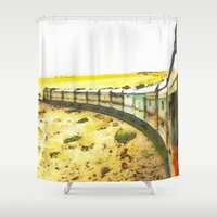 train Shower Curtains featuring Train by Mr and Mrs Quirynen