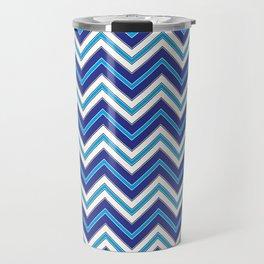 Chevron Pattern   Zig Zags   Blue, Black and White   Travel Mug