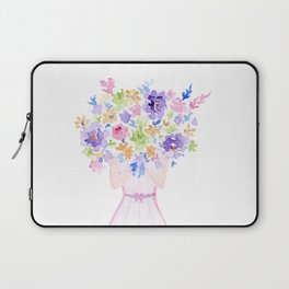 GIRL HOLDING BOUQUET OF FLOWERS / THANK YOU / CONGRATULATIONS / BIRTHDAY Laptop Sleeve