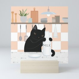 Sweet Milky Morning in Cat's Kitchen Mini Art Print