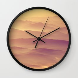 Sunset Rolling Foggy Hills Landscape Photograph Wall Clock