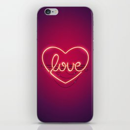 Love Heart Neon Sign iPhone Skin