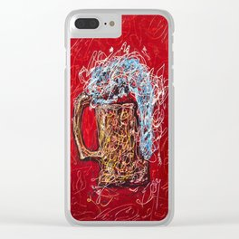 Abstract Beer - Inspired By Pollock  #society6 #wallart #buyart by Lena Owens @OLena Art Clear iPhone Case