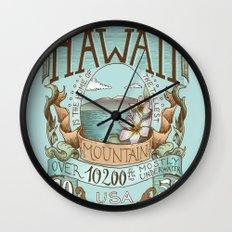 Hawaii Vintage Postage Stamp Wall Clock