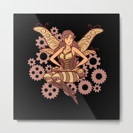 Steampunk fairy colorful and cool female steampunk Metal Print