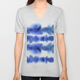 Indigo Watercolor Pattern 13 Unisex V-Neck