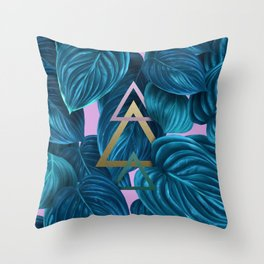 tropical turquoise leaves pattern Throw Pillow