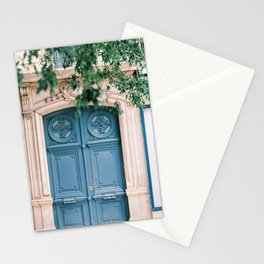 Ornate and Beautiful Blue Door in Paris, France Stationery Cards