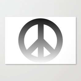 Black Fade CND Peace Symbol on White Canvas Print
