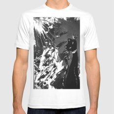 Black Cat Storm MEDIUM White Mens Fitted Tee