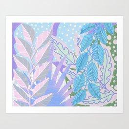 Modern Jungle Plants - Blue, Purple Art Print