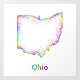 Rainbow Ohio map Art Print