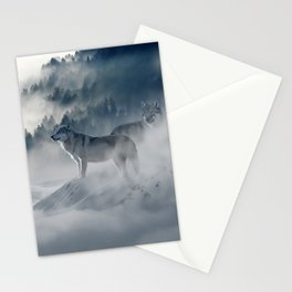 Photo of a wolf in a winter scene Stationery Cards