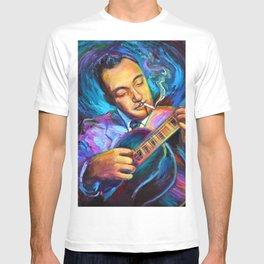 Gypsy Jazz Guitarist Django Reinhardt by Robert Phelps T-shirt