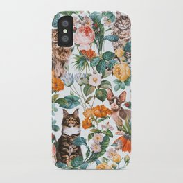 Cat and Floral Pattern III iPhone Case
