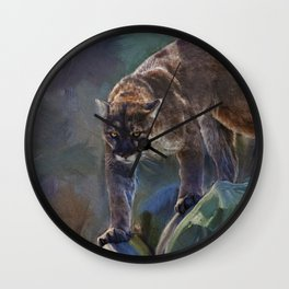 The Mountain King - Cougar Wildlife Art Wall Clock