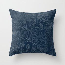 DC NYC London - Navy Throw Pillow