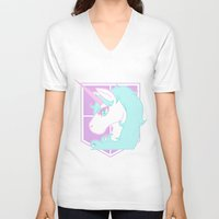 military V-neck T-shirts featuring Pastel Military Police by CLUB GALAXY