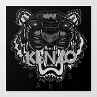 kenzo Canvas Prints featuring black Tiger Kenzo by cvrcak