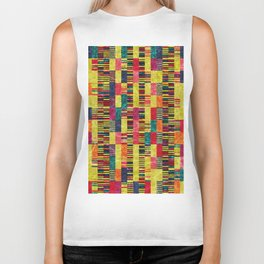 Colorful Geometric Shapes and Lines (Pattern Occurring) #02 Biker Tank