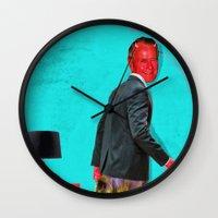 satan Wall Clocks featuring Satan, That Scoundrel by Alec Goss
