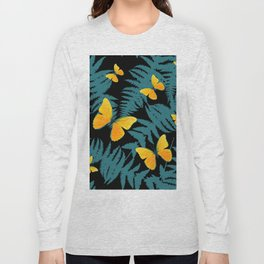 Fern Fronds With Yellow Butterflies & Black Color Art Long Sleeve T-shirt