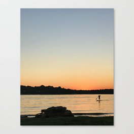 Paddleboarder at sunset Canvas Print