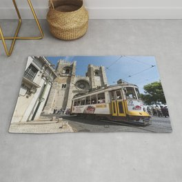 Tram outside Lisbon Cathedral Rug