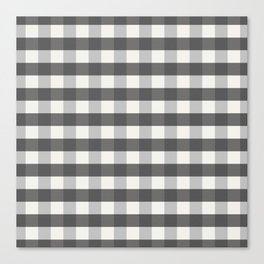 Grey and Pottery White Plaid Gingham Farmhouse Country Canvas digital texture Canvas Print