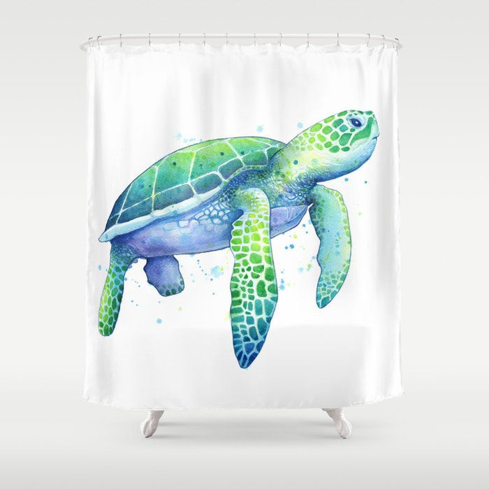 Green Sea Turtle Shower Curtain By Samnagel