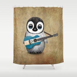 Baby Penguin Playing Honduras Flag Acoustic Guitar Shower Curtain